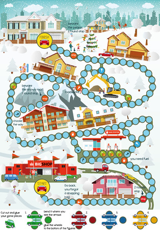 Board game (Cartoon city) - Winter Vector