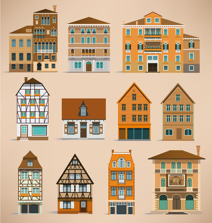 European houses Illustration