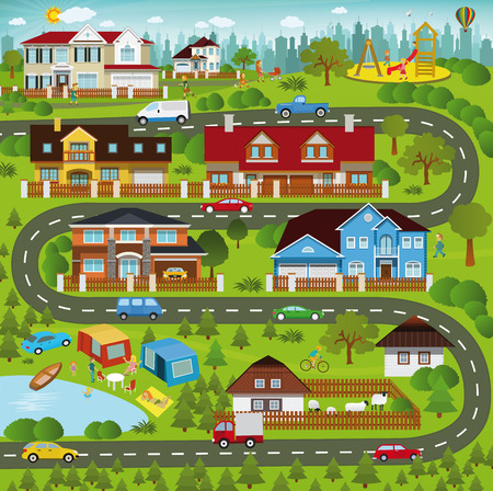 vacation map: Life in the suburbs
