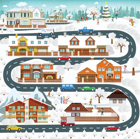 La vie dans les banlieues - hiver Banque d'images - 32509315