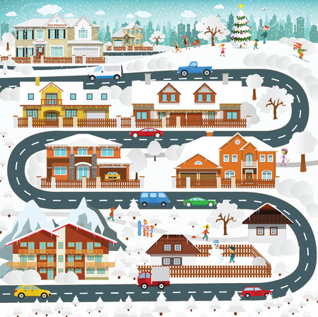 Life in the suburbs - winter Vector