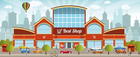 carro supermercado: Centro comercial en la ciudad Vectores