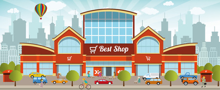 shopping cart: Shopping center in the city Illustration