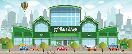 Vector illustration d'un centre commercial dans la ville