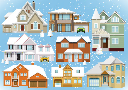 victorian christmas: Snow covered city houses (Christmas) Illustration