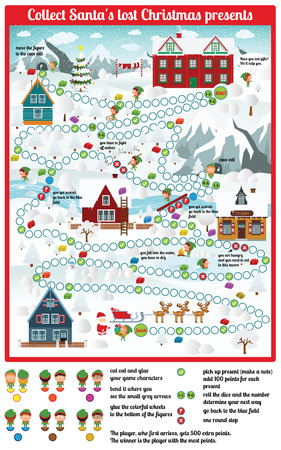 Board game (Santa lost Christmas gifts) Vector
