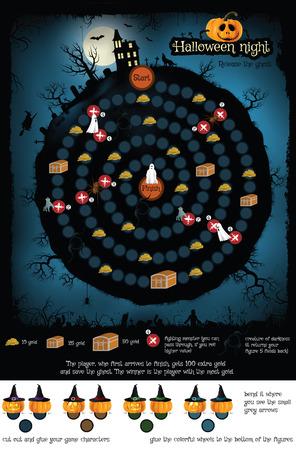 brettspiel: Vektor-Illustration von Brettspiel (Halloween-Nacht)
