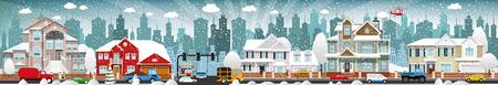 Vector illustratie van het stadsleven (winter)
