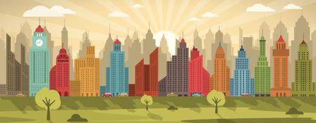Vector illustration of retro city (skyscraper) Vector