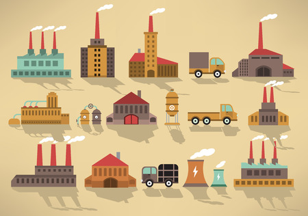 coal plant: Vector illustration of factory icons (retro colors)