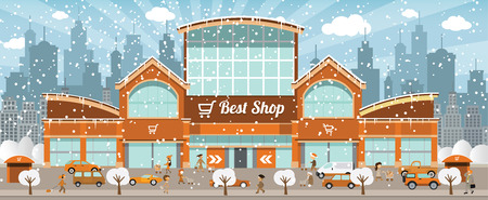 Vector illustration of shopping center in the city in winter days