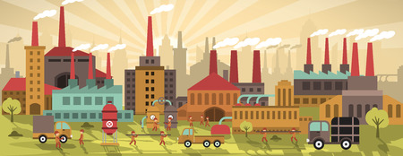 factory workers: Vector illustration of factory in the city (retro colors)