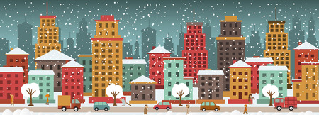 Vector illustration of city in the winter days Vector