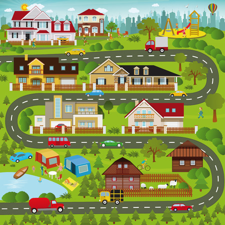 suburban street: Vector illustration - Life in the suburbs