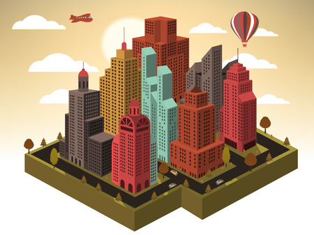 Vector illustration of city in perspective (town in autumn) Vector