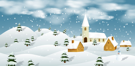 Vector illustration of winter landscape Vector