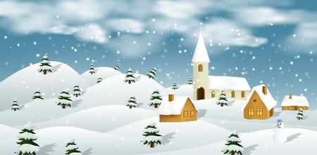 Vector illustration of winter landscape Illustration