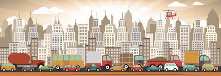 Vector illustration of traffic jam Vector