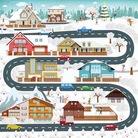 Vector illustration - life in the suburbs - winter Vector