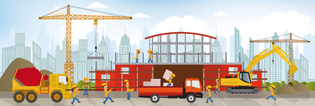 whooping: Vector illustration of making the new building Illustration