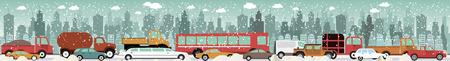 urban environment: Vector illustration - Traffic jam  in Winter Illustration