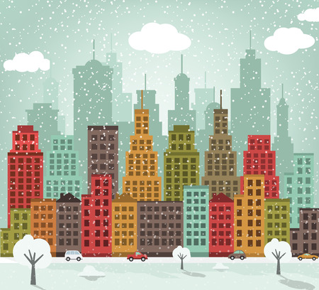 Vector illustration of colorful city in winter (retro colors)