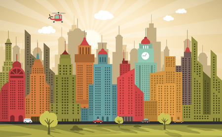 city live: Vector illustration of colorful city (retro colors)