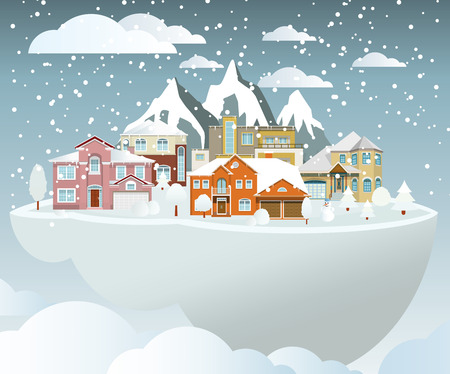 world village: Vector illustration of flying island in winter (village) & mountains in the background
