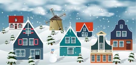 dutch: Vector illustration of winter landscape (Dutch countryside)