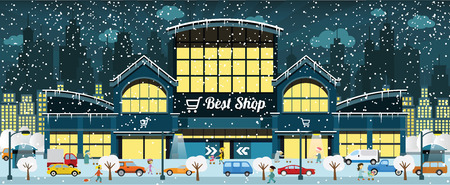 icicles: Vector illustration of shopping center in the city in winter