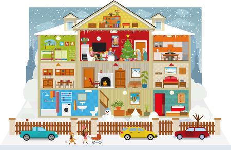 case colorate: Illustrazione vettoriale di sezione trasversale della casa (di Natale)