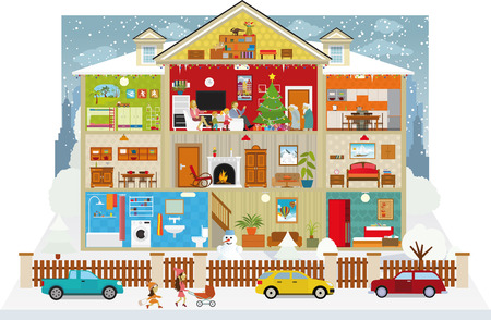 villages: Vector illustration of cross section of the house (Christmas) Illustration