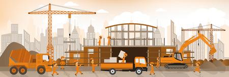 steel construction: Vector illustration of making the new building Illustration