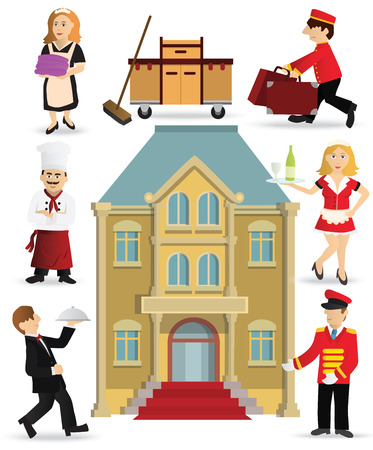 staffs: Illustration of people collection (hotel staff)
