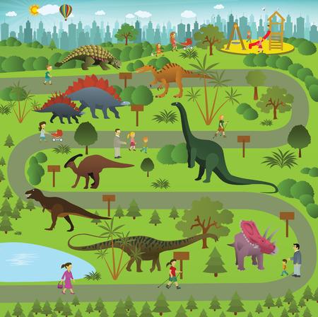 Vector illustration of jurassic garden in the city (dinosaur park)