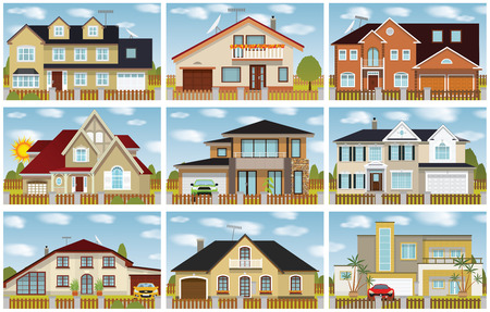 small group of objects: Vector illustration of family houses collection