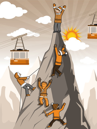 climbers: Vector illustration of the climbers on the mountain top (extreme sports) Illustration
