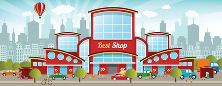 Vector illustration of shopping center in the city Illustration