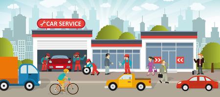 Ilustracji wektorowych z serwisu samochodowego w mieście