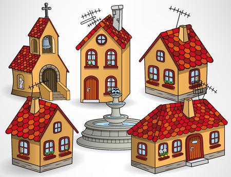 chapel: Vector illustration of european village buildings (houses, chapel, fountain)