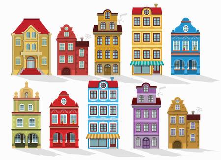 Fachada: Ilustración del vector de casas históricas