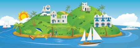 Vector illustration des vacances à la mer Banque d'images - 43823389