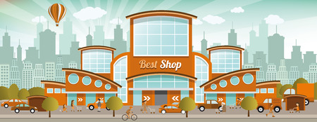 shopping mall: Vector illustration of shopping center in the city (retro colors) Illustration