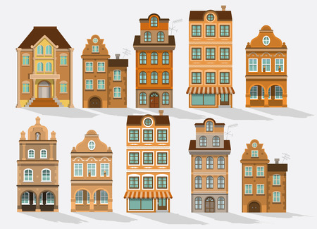 secession: Vector illustration of historical houses (retro colors)