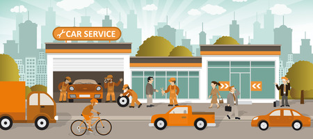 repair shop: Vector illustration of car service in the city (retro colors)