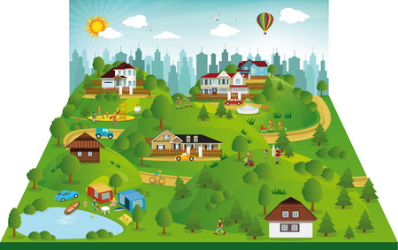 suburb: Vector illustration of landscape in the suburbs