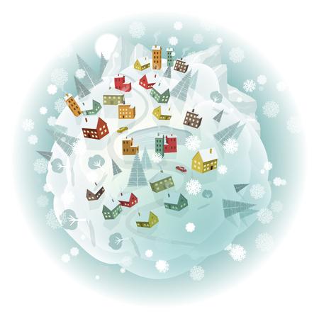 winter scenery: Vector illustration of winter scenery around the world