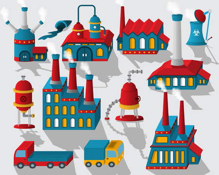 city view: Vector illustration of factory in perspective buildings, cars, tanks