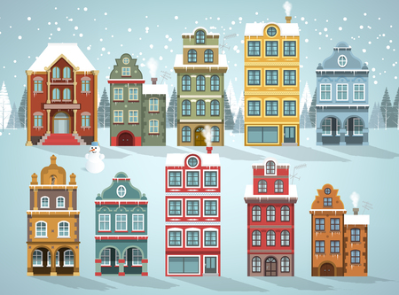 facade: Vector illustration of family houses collection Winter