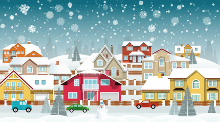snow covered: Vector illustration of life in the suburbs snow covered houses